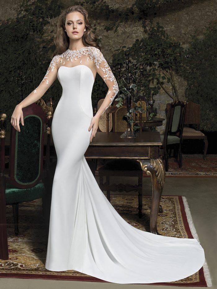 Vestido de novia con mangas de encaje