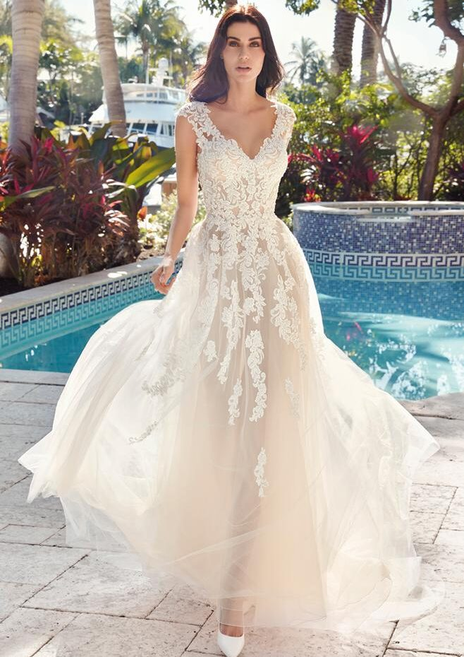 Vestido de novia semi ancho muy vaporoso